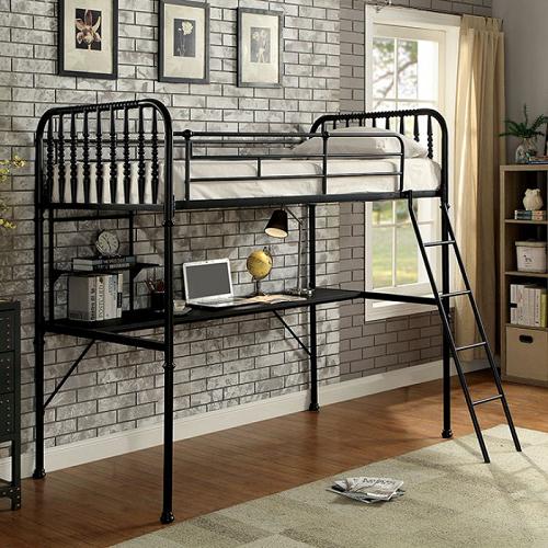 002MLB Twin Spindle Workstation Loft Bed in Black