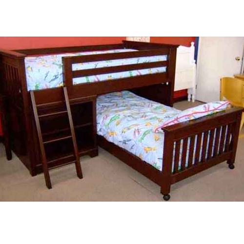 009LB Junior Loft Bed with Ladder and Bottom Bed