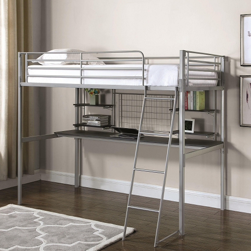 009MLB Twin Metal Loft Bed in Silver