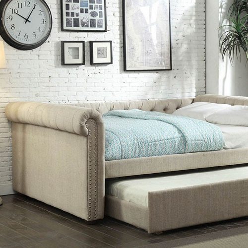 013DB Upholstered Queen Daybed w/ Trundle in Beige