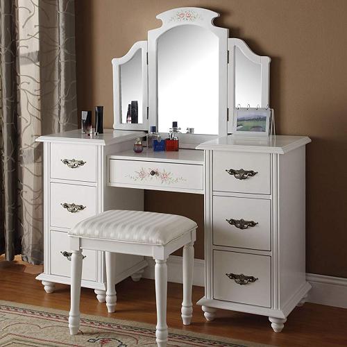 014M White Fold Out Mirror