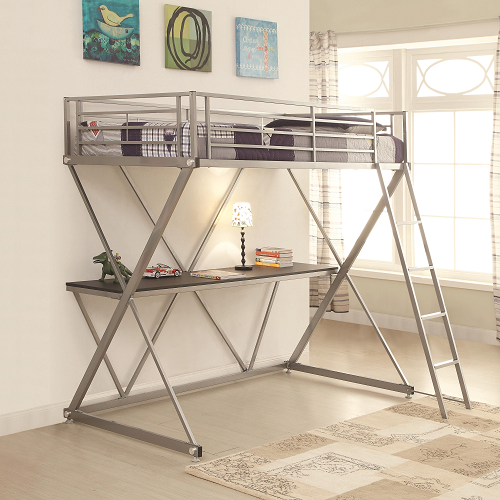 024MLB Twin Metal Loft Bed in Silver