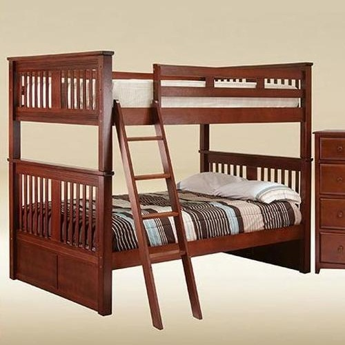 0107 Boston Full over Full Bunk Bed in Dark Pecan