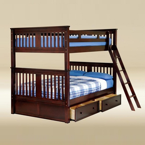 A0007 Full/Full Boston Bunk Bed in Walnut
