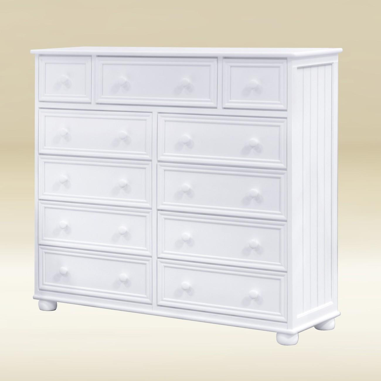 Item # 054- 1133W 11 Drawer Chest Bead Board in White