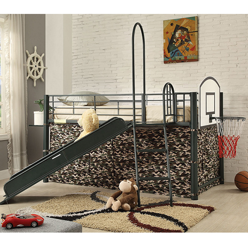 148MLB Loft Bed w/Slide, Tent & Ladder