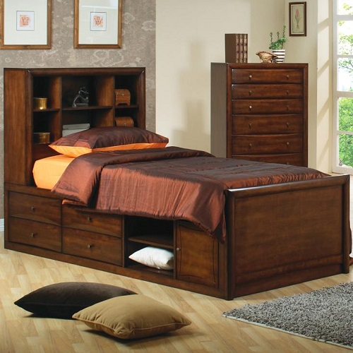 017CB Full Bookcase Bed w/ Underbed Storage