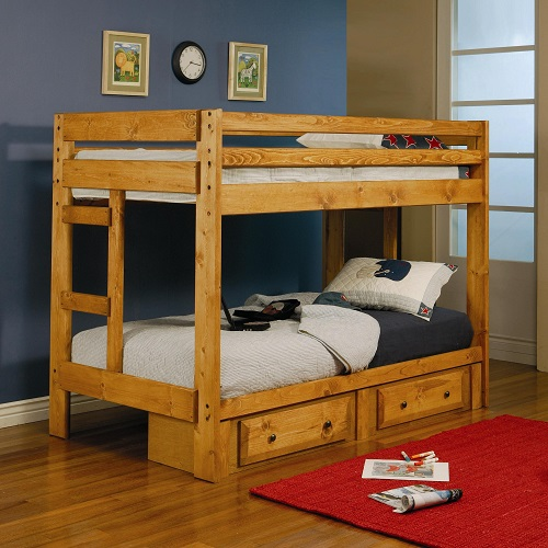 A0078TT Twin/Twin Bunk Bed w/ Built in Ladder