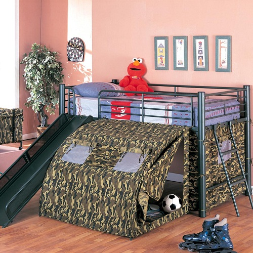 008TB Camouflage Lofted Bed with Slide and Tent
