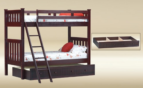 BT309-WA Twin over Twin Temple Bunk Bed in Walnut