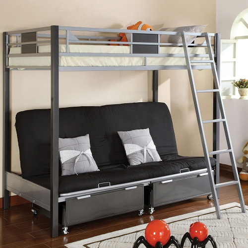 045MBB Twin over Futon Metal Bunk Bed