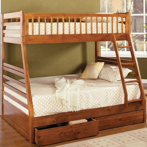 A0076TF Twin/Full Bunk Bed w/ 2 Drawers in Oak