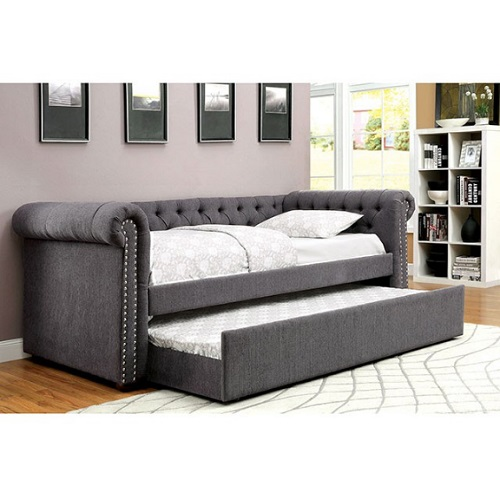 010DB Upholstered Daybed w/ Trundle in Gray