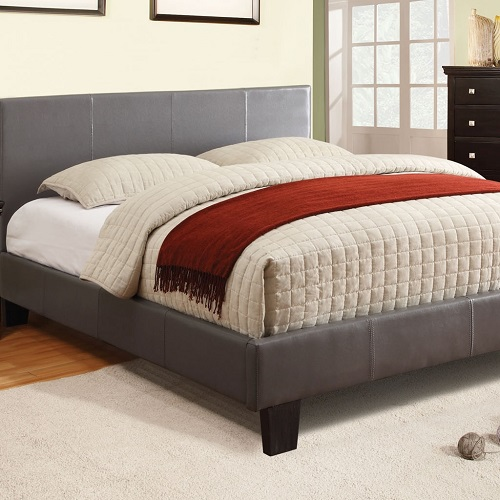 Item # 012Q Padded Leatherette Platform Queen Bed