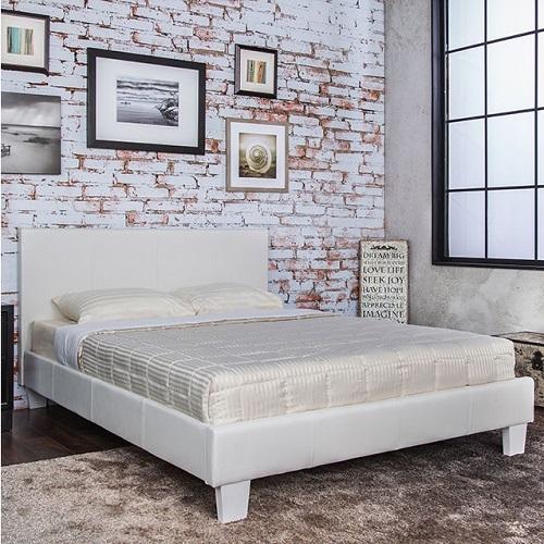 Item # 1072FB Full White Leatherette Bed
