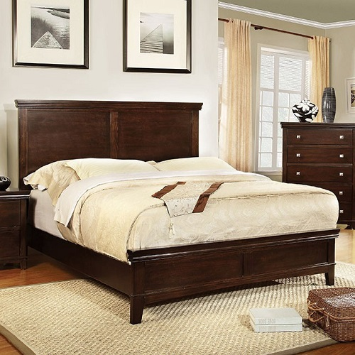 Item # 030Q Brown Cherry Platform Queen Bed