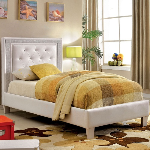 0015TB Cordelia Platform Leatherette Twin Bed
