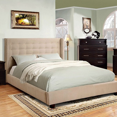 Item # 056Q Padded Flannelette Platform Queen Bed