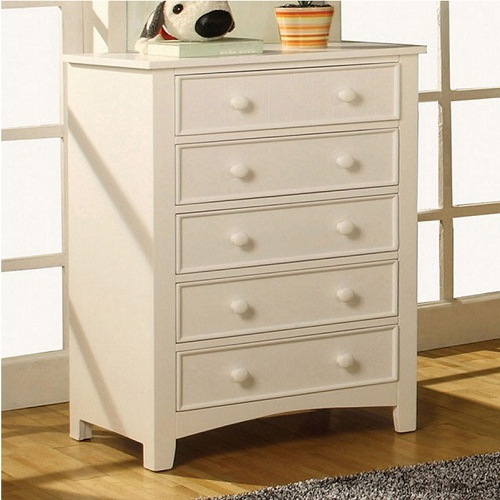 034CH White 5 Drawer Chest