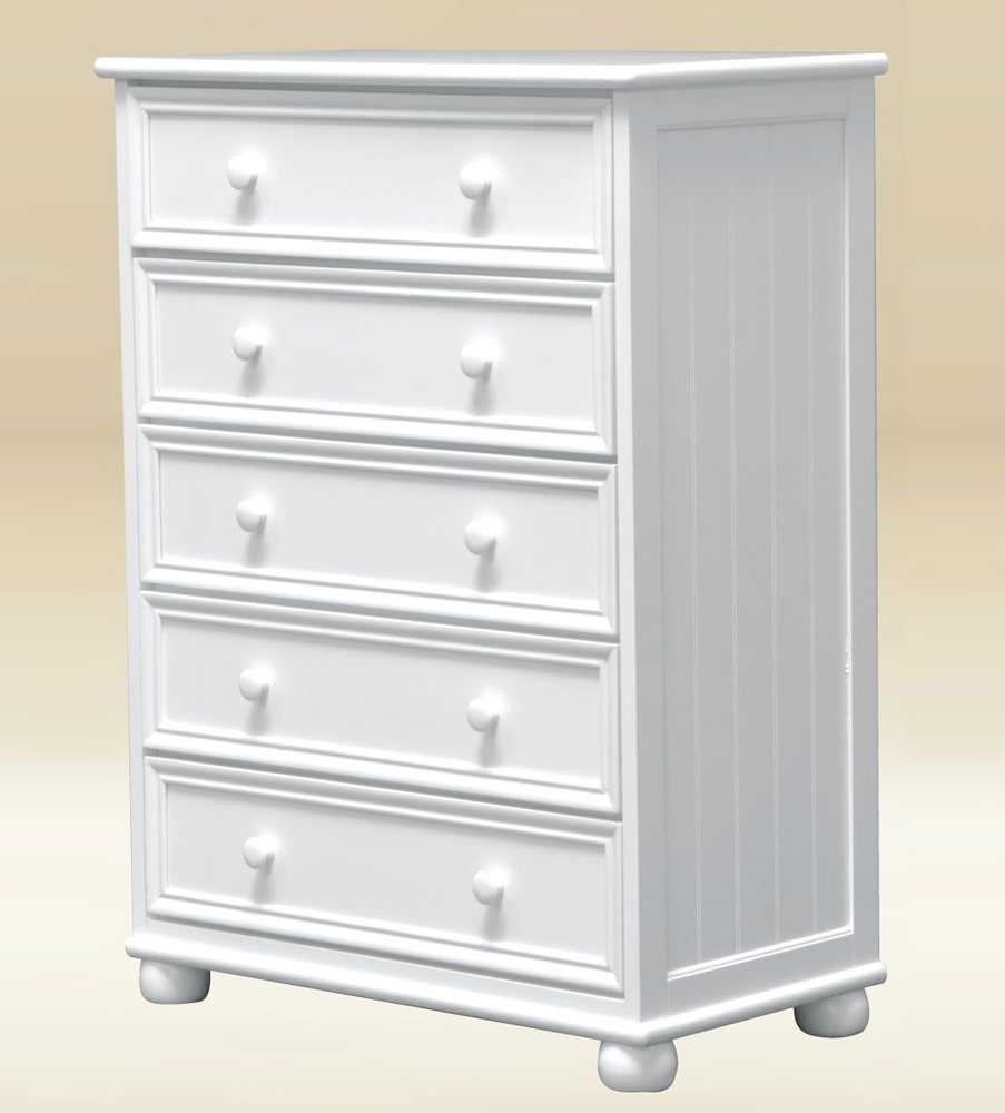 Item # 048CH Five Drawer Chest in White