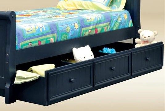 CUBT3-BB-BLUE Twin Trundle/Storage Combo in Blue