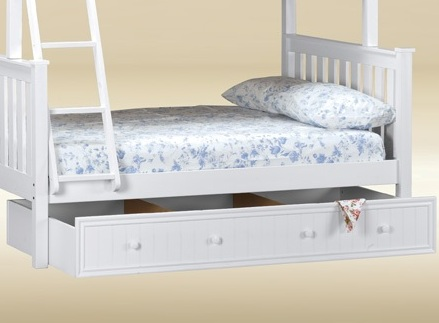 CUBT-BB-W Twin Trundle/Storage Combo in White