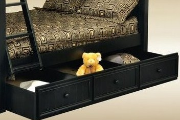 1931BLK Twin Trundle/ Storage Combo in Black