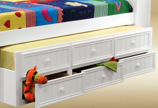 2001W Twin Size Combo Trundle with Three Drawers in White