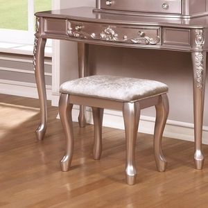 001KCH Metallic Lilac Stool w/ Cabriole Legs - Finish: Metallic Lilac w/ Metallic Lilac Leatherette<br><br>Available in White w/ Pink Leatherette<br><br>Dimensions: 19W x 13.5D x 18.5H