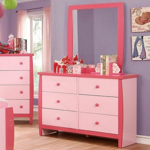 Item # 001DR Two Tone 6 Drawer Dresser - Color/Finish: Pink<br><br>Dimensions: 48