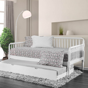 036DB Spindle Daybed in White - Finish: White<br><br>Available in Black<br><br>Trundle Optional<br><br>Foundation Required<br><br>Dimensions: 80 1/4