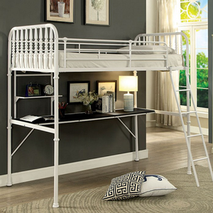 001MLB Spindle Twin Loft Bed in White - Finish: White<br><br>Slat Kit Included<br><br>Available in Black Finish<br><br>Dimensions: 78 7/8