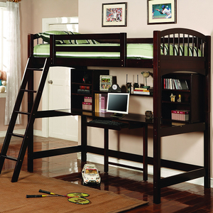 Item # 001TLB Casual Twin Workstation Loft Bunk - Twin bed sits atop a large work space with keyboard drawer. Also, includes book shelves for storage<br><Br><b>Dimensions: </b> Width: 41.75 x Depth: 80 x Height: 74