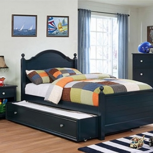 001TR Trundle Bed Blue - Finish: Blue<br><br>Available in Cherry & Gray<br><br>Dimensions: 75 1/8