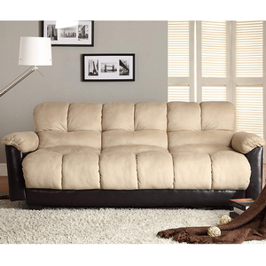 Item # 001FN Sofa Bed - Finish: Beige Microfiber / Dark Brown Bi-Cast Vinyl<br><br><b>Dimensions:</b> <br><br><b>Sofa:</b> 83.5 x 32 x 34.5H<br><br><b>Bed:</b> 83.5 x 50.5 x 26H