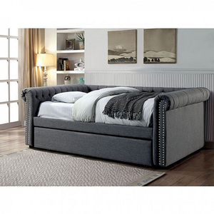 002DB Full Upholstered Daybed w/ Trundle in Gray