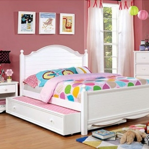 002TR White Trundle Bed - Finish: White<br><br>Available in Pink<br><br>Dimensions: 75 1/8
