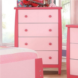 002CH Pink 4 Drawer Two Tone Chest - Color/Finish: Pink<br><br>Dimensions: 29
