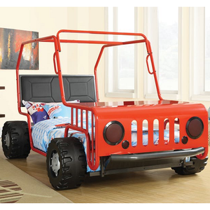 Item # 002TB Jeep Twin Bed - Finish: Black/Red<br><br>Mattress Ready<br><br>Dimensions: 56W x 91.25D x 52.25H