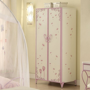 003AM Butterfly Armoire - Finish: White/Light Purple<br><br>Dimensions: 32