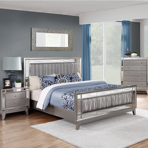 Item # 003FB Full Bed w/ Metallic Leatherette - Finish: Mercury Metallic w/ Metallic Leatherette<br><br>Available in Twin, King & Queen Size<br><br>Dimensions: 56.25W x 80.25D x 48H