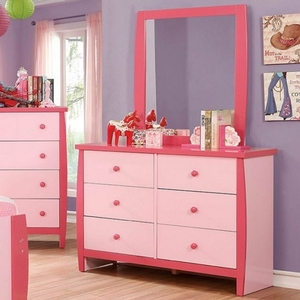 Item # 004M Pink Mirror - Color/Finish: Pink<br><br>Dimensions: 32 3/8