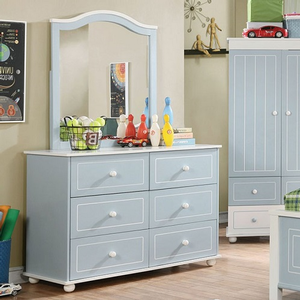 Item # 003M Blue with White Trim Mirror - Finish: Blue/White<br><br>Dresser Sold Separately<br><br>Dimensions: 30