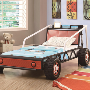 003TB Twin-Size Youth Race Car Bed - Finish: Black/White/Red<br><br>Mattress Ready<br><br>Dimensions: 58