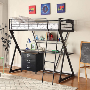 004MLB Twin Loft Bed in Black - Finish: Sandy Black<br><br>Slats System Included<br><br>Dimensions: 77