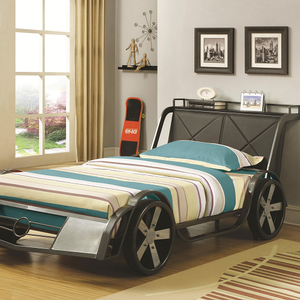 Item # 004TB Race Car Twin Bed - This Twin size gunmetal/Silver race car bed features four large wheels, faux headlights and a leatherette headboard with a storage shelf<br><br>