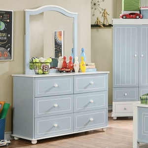 Item # 004DR Cottage Style 6 Drawer Dresser - Finish: Blue/White<br><br>Dimensions: 44