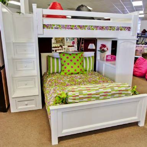 Item # 004 Loft bed with Full Bottom Bed - Available in any color. Twin and Full size options.