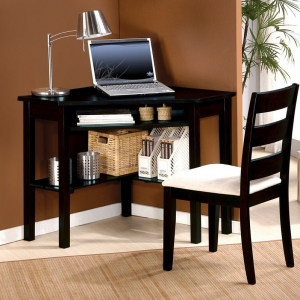 Item # 070D Corner Desk - Finish: Black<br><br>Chair Sold Separately<br><br>Dimensions: 44