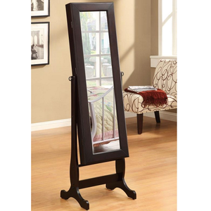 Item # 005CM Casual Jewelry Mirror Cheval - Dual purpose cheval mirror and jewelry armoire<br><br>Plenty of shelves and a small drawer<br><br>Dark green felt-lining inside<br><br>4